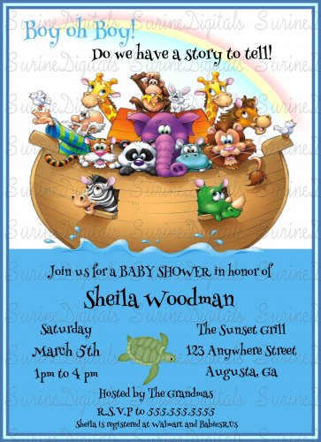 Noah's Ark Baby Shower Invitation/ Biblical Story Themed Baby Shower Invitation