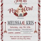 Pow-Wow Baby Shower Invitations/ Native Amerincan Tee-Pee Baby Shower invitation