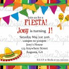 Let's Fiesta Invitation/ Spanish Themed Birthday Party Invitation