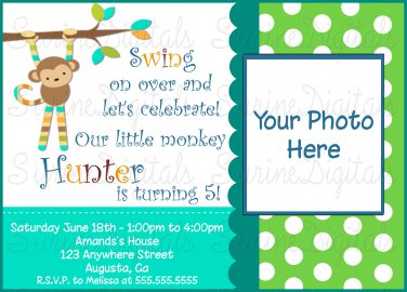 Mod Monkey Birthday Invitation with your child's Photo