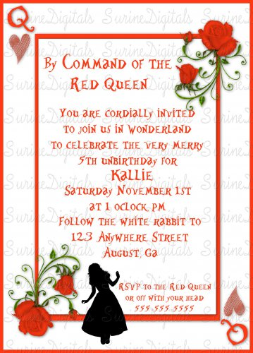 Queen Of Hearts Birthday Party Invite w/ Silhouette of Alice/ Alice in Wonderland Party Invite