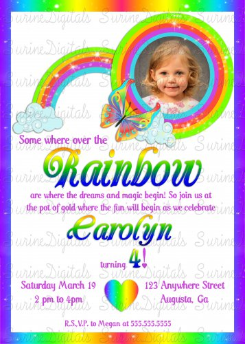 Somewhere over the Rainbow with your child's photo Birthday party Invitation