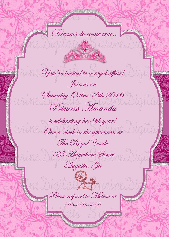 Sleeping Beauty Themed Party Invite/ Princess Aurora Birthday Invite ...