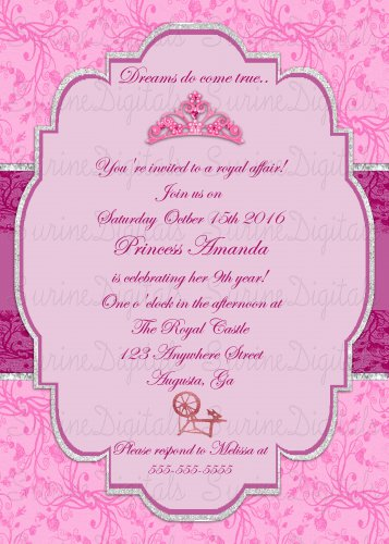 Sleeping Beauty Themed Party Invite/ Princess Aurora Birthday Invite/ Princess Partyinvite