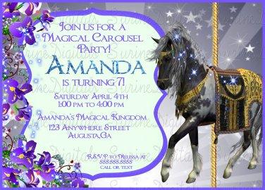 Carousel Horse Birthday Party Invitation/ Carousel Themed Party Invitation