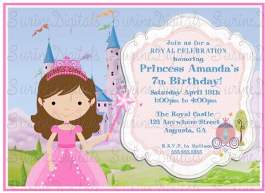 Little Princess with Castle Birthday Party Invitation/ Princess Party Invite