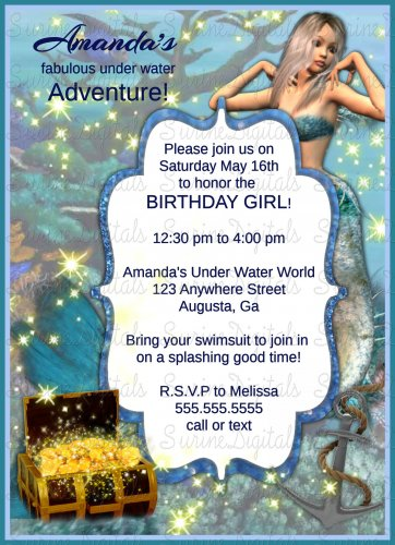 Mermaid Themed Girls Fantasy Birthday Party invitation/ Under the Sea Party invite