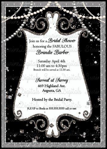 Black and White Elegant Pearls and Sparkles Bridal Shower Invitation