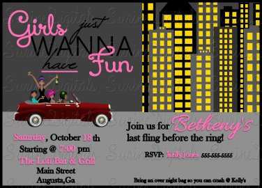 Girls Night Out on the Town Bridal or Bachelorette Party Invitation