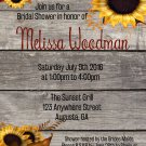 Sunflowers and Wood Country Bridal Shower Invitation/ Rustic Bridal Shower Invite