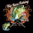 Big Bass Fishing Living The Reel Life Tee Shirt