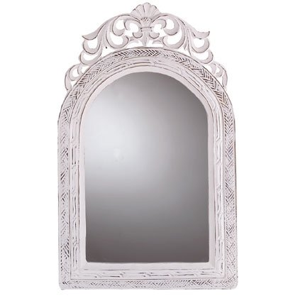 Distressed White Finish Arched Mirror