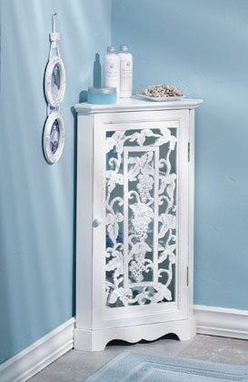 Distressed  White Wood Carved Corner Cabinet