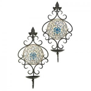 Blue and White Mosaic Wall Sconce