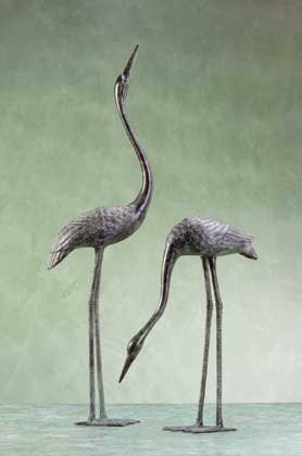 Pair Of Crane Sculptures