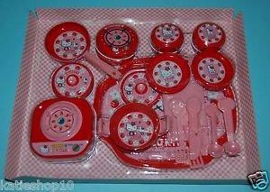 USED 2000 Sanrio Hello Kitty Tin Plastic Kitchen Cooking Set Roleplay Toys 28 pc