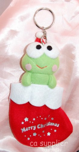 "2003 Sanrio Keroppi X'mas Red Sock Present Key Ring Coin Bag 6""H"