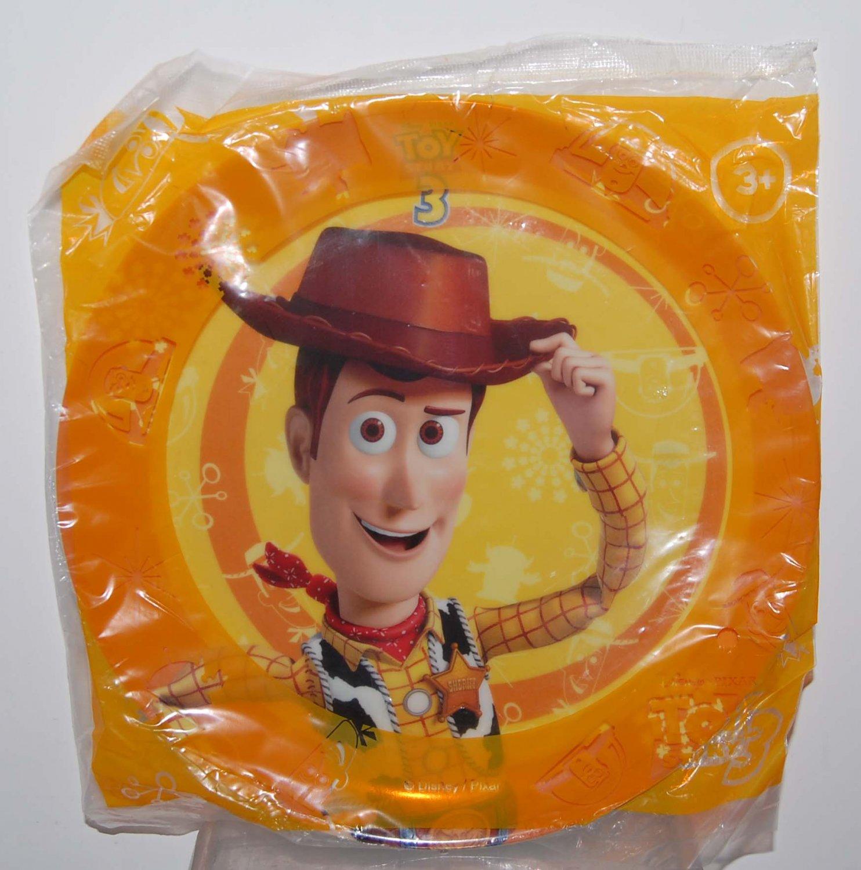 "Disney Pixar Toy Story 3 Woody - 8"" Round Orange Plastic Plate"