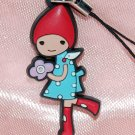 "Cute Girl Purple Flower Plastic Figure Strap Charm Mascot 1.25""H #5"
