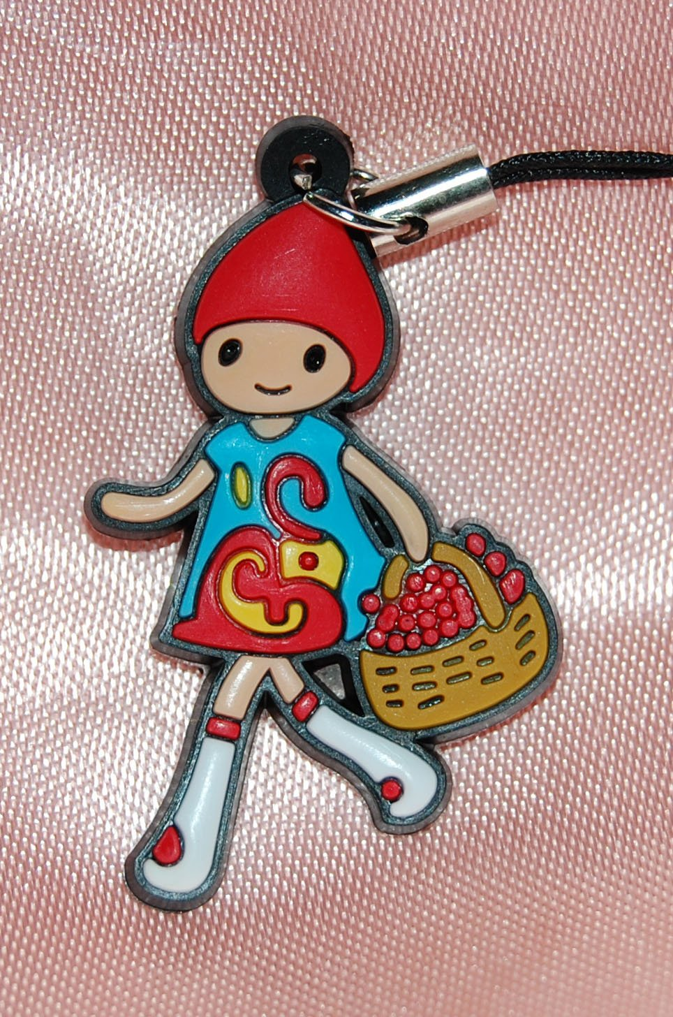 "Cute Girl with Basket Plastic Figure Strap Charm Mascot 1.25""H #6"
