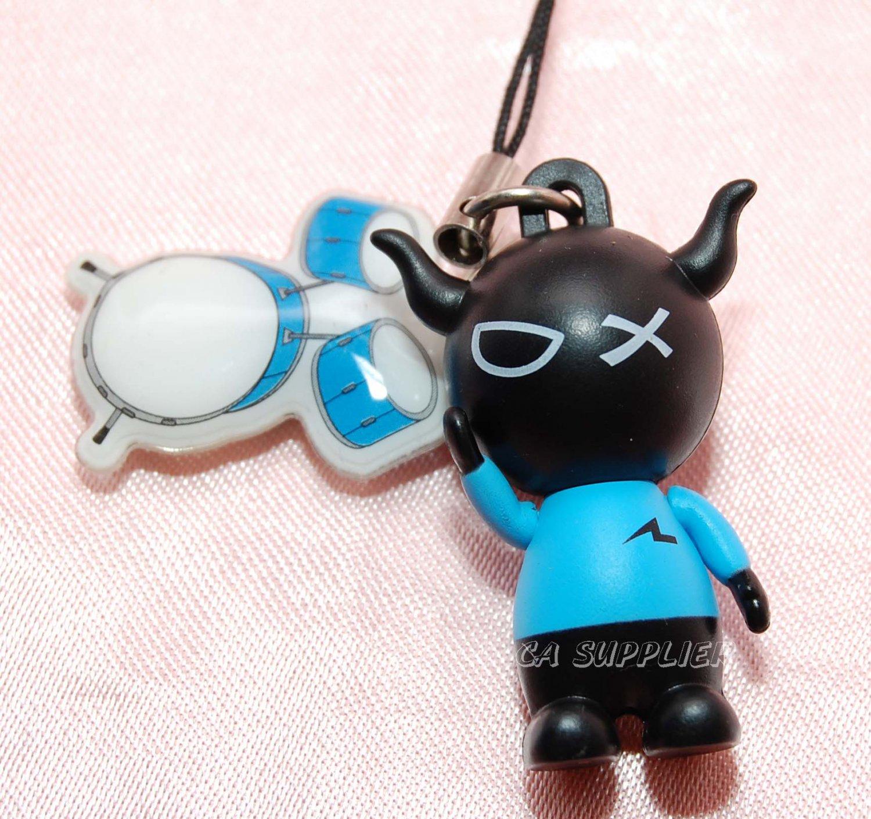 "2009 Bandai PVC Hard Figure w/ Drum Set Cell Phone Charm Strap Mascot Gashapon Capsule Toy 1.5""L #1"