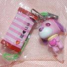 "Yujin Gasphon Capsule Toy Ocha Ken PINK Tea Dog Strap 6/8"" ~ 1"" H"