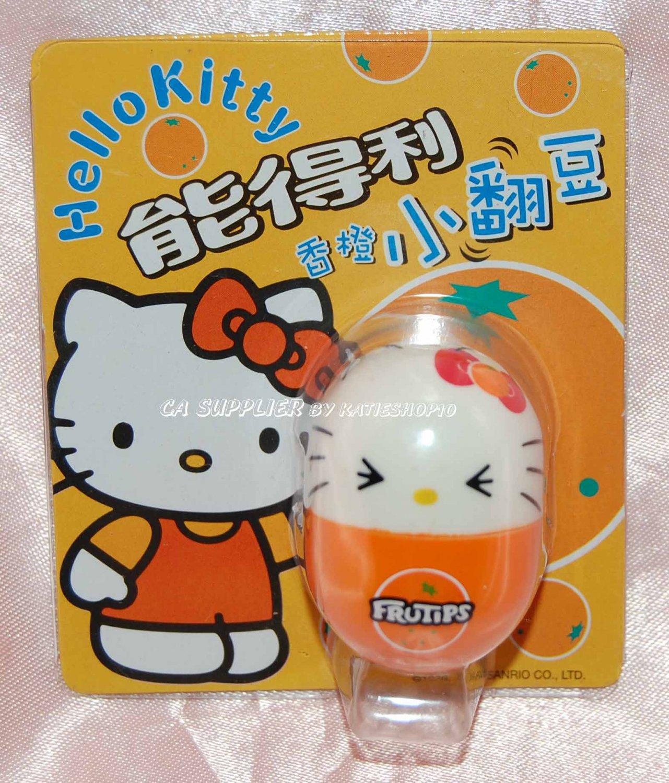 """2004 Sanrio Frutips Hello Kitty Orange Fruit Tumbler 1.5"""" H"""