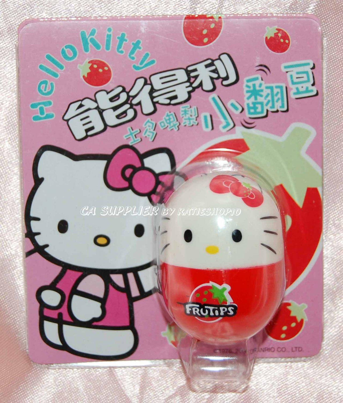 "2004 Sanrio Frutips Hello Kitty Red Strawberry Fruit Tumbler 1.5"" H"