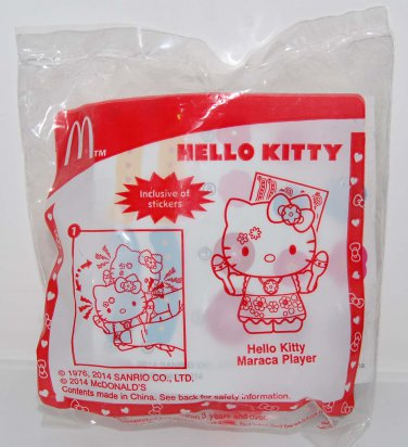 2014 McDonald's Sanrio Happy Meal Toy Hello Kitty Maraca Player w/ Stickers