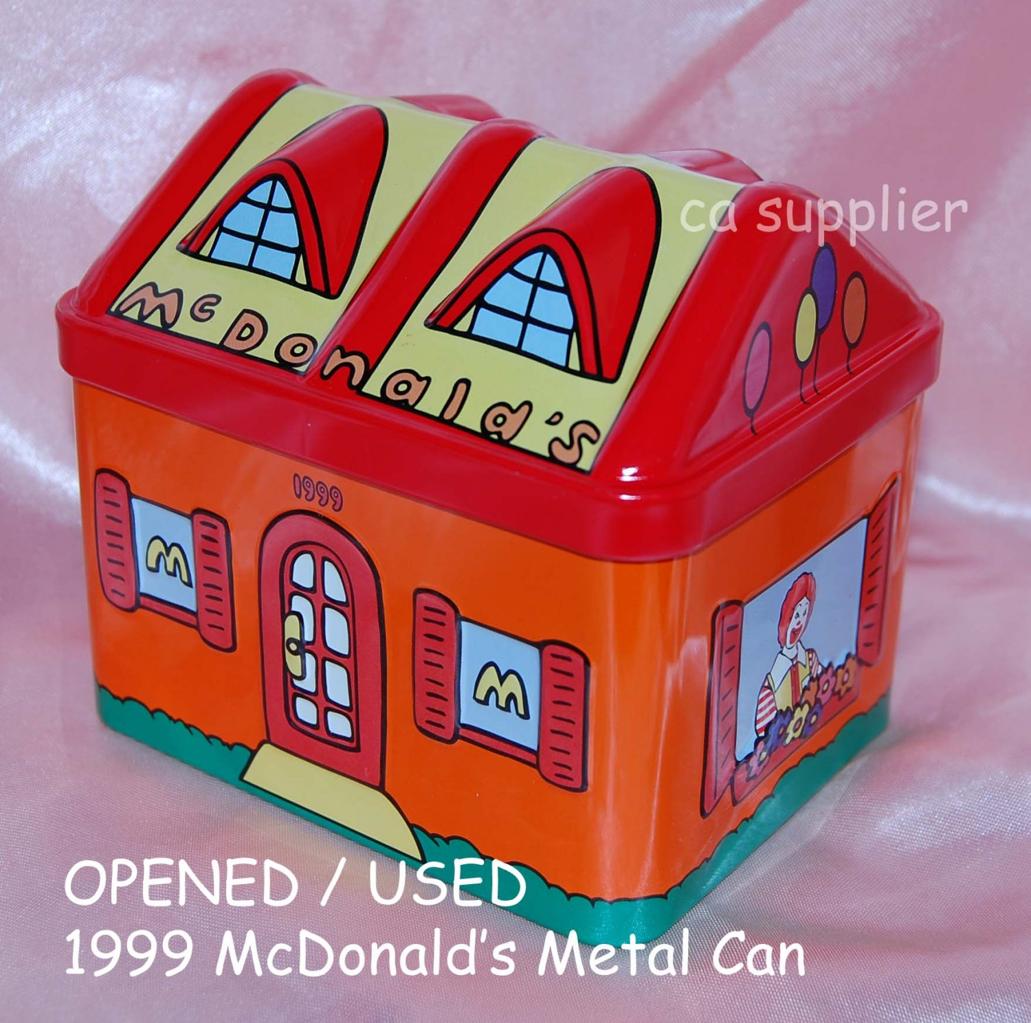 """USED 1999 McDonald's Ronald House Metal Tin Can Container 4.5"""" x 3.5"""" x 4"""" H"""