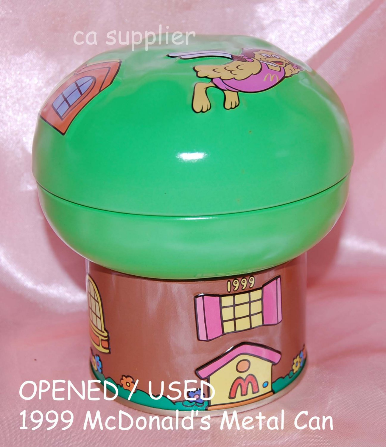 """USED 1999 McDonald's Birdie GREEN Metal Tin Can Container 4.5"""" x 5"""" H"""