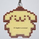Perler Beads Hand Craft Art Pom Pom Purin Figure Key Ring Charm Mascot