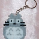 Perler Beads Hand Craft Art Grey Totoro Cat Figure Key Ring Charm Mascot