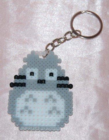 Perler Beads Hand Craft Art Grey Totoro Cat Figure Key Ring Charm Mascot