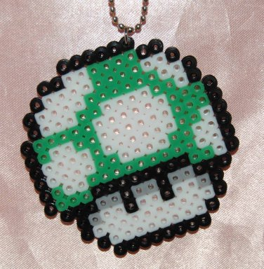 Perler Beads Hand Craft Art Mario Bros Green Mushroom Head Figure Key Chain Ring Plate Charm Mascot
