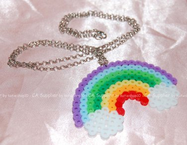 Perler Beads Hand Craft Art Colourful Rainbow Necklace w/ Lobster Clip