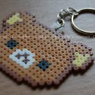 Perler Beads Hand Craft Art Rilakkuma Relax Bear Head Figure Key Ring Charm
