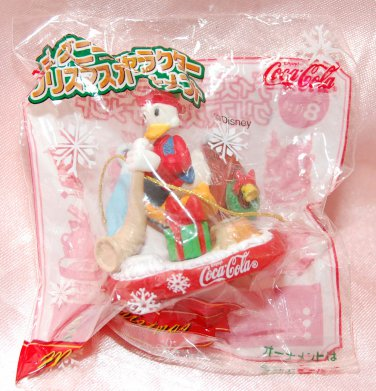 "Disney Coca Cola Donald Duck Christmas Ornament 2""H"