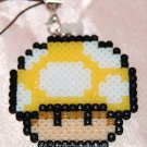 Perler Beads Hand Craft Art Mario Bros Yellow Mushroom Head Figure Strap Charm Mascot