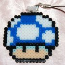 Perler Beads Hand Craft Art Mario Bros BLUE Mushroom Head Figure Strap Charm Mascot