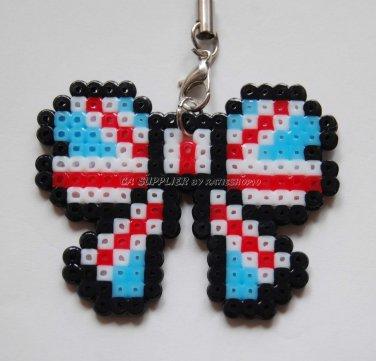Perler Beads Hand Craft Art - Ribbon Butterfly Shape Strap Charm Mascot