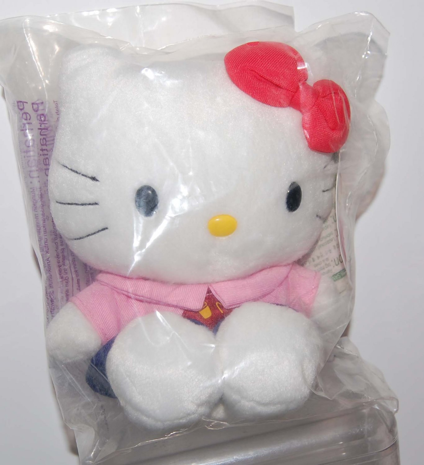 "McDonald's Sanrio Hello Kitty in Pink Staff Uniform Plush Doll 6"" H"
