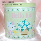 "USED 2004 Sanrio Hello Kitty Green Metal Tin Can Bank w/ Cover 4"" x 4""H"