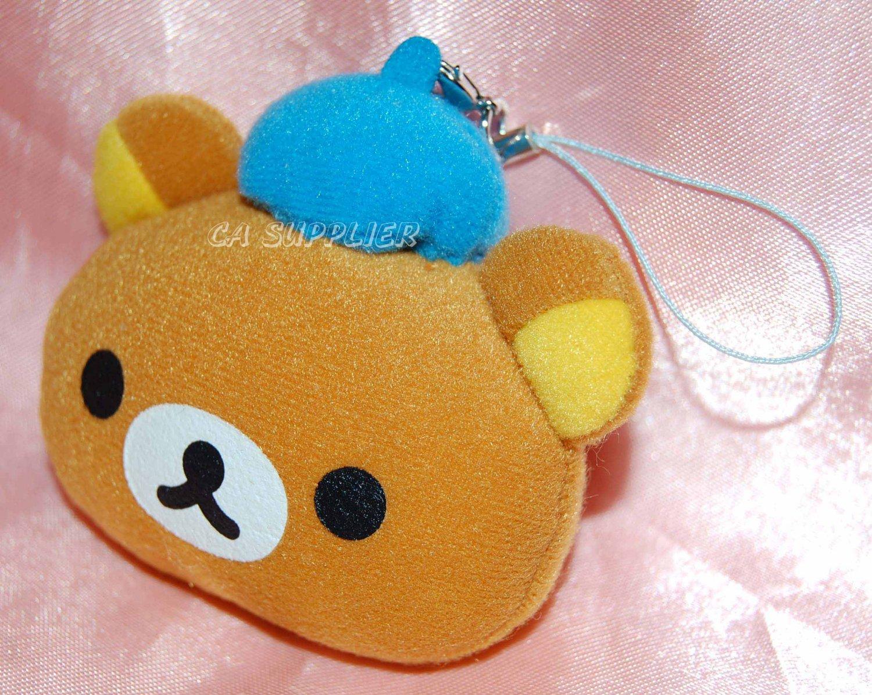 """San X Rilakumma Relax Bear Head Wearing Blue Hat Plush Figure Charm w/ Lobster Clip 3"""""""