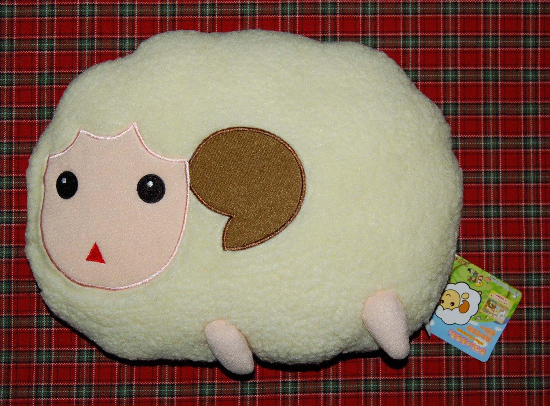 """2002 Capcom Hitsuji No Kimochi White Plush Cushion UFO Catcher Prize 13""""W x 9""""H"""