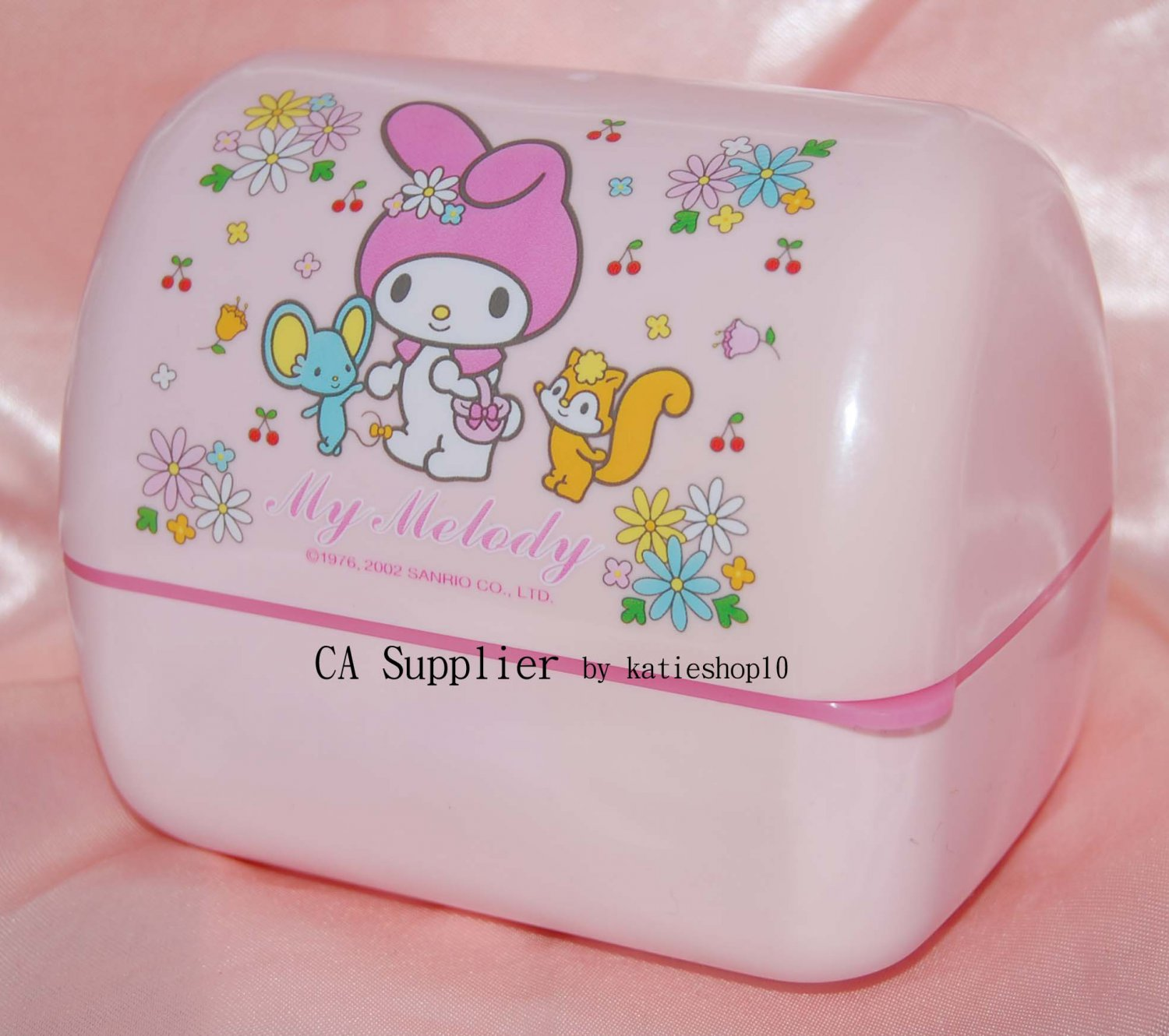 """2002 Sanrio My Melody Plastic Container 4.5"""" x 3.25"""" x 4"""" H"""