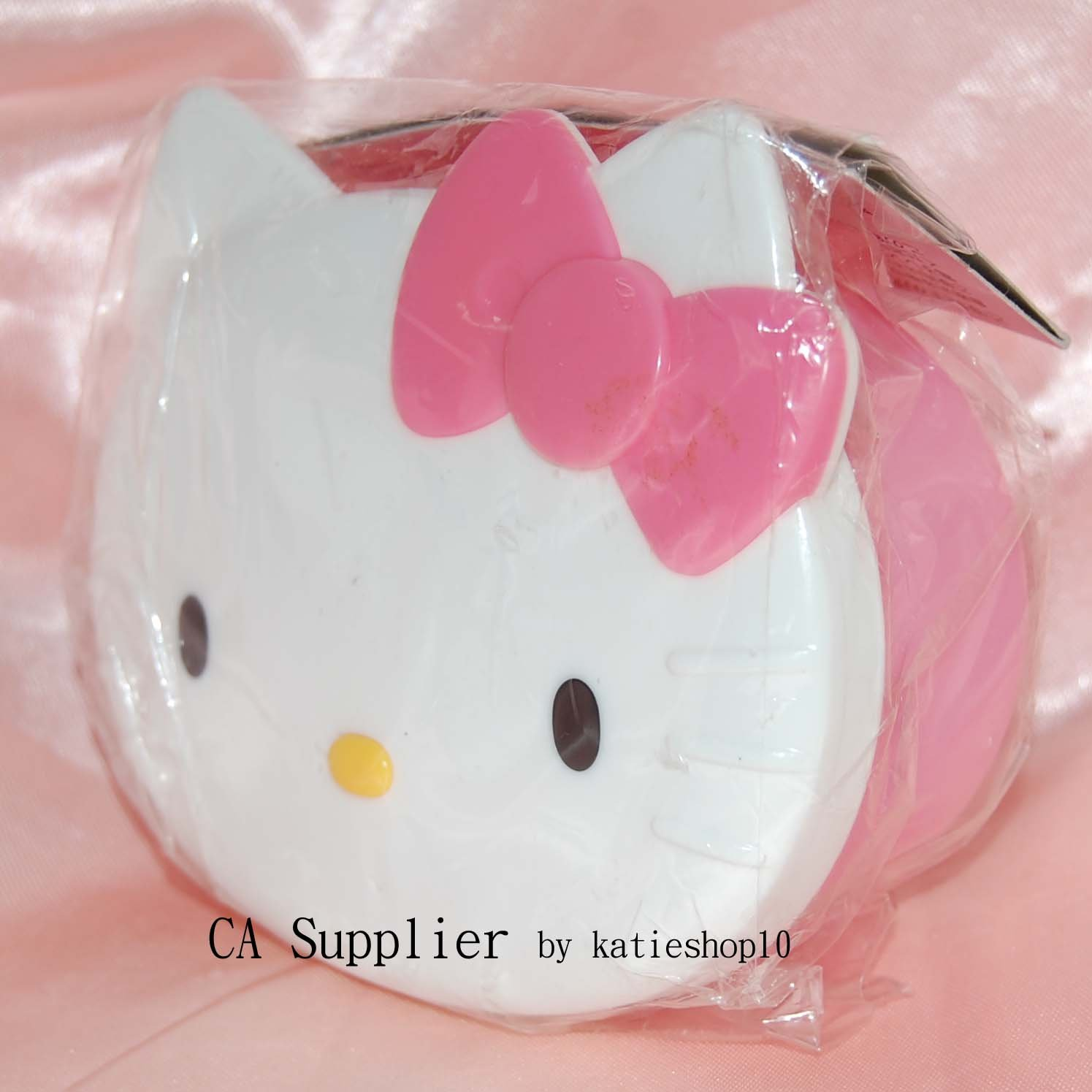2002 Sanrio Hello Kitty Head Plastic PINK Box Container Made in Japan 180 ml