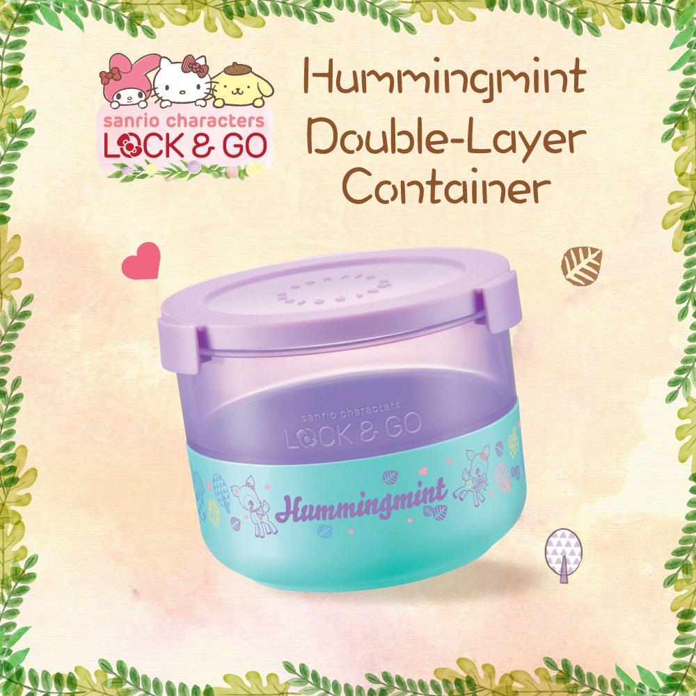7-11 Sanrio Hello Kitty Hummingmint Lock & Go Purple Plastic Double Layer Container Mug Box Storage