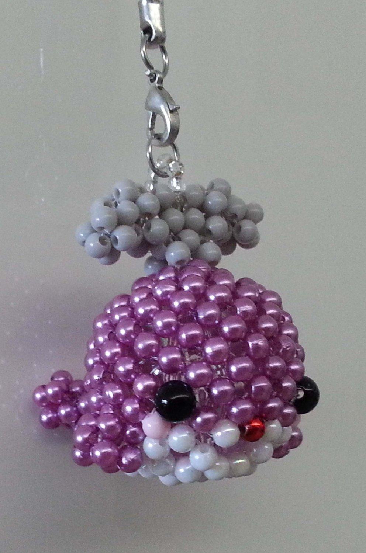 "Handmade Shiny PINK Whale Round Beads Figure Strap 1.5"" x 2"" x 2"" H"