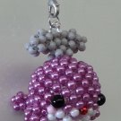 "Handmade Shiny PINK Whale Round Beads Figure Strap 1.5"" x 2"" x 2"" H"